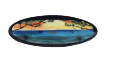 Splashy NZ Hand-Painted Ceramic Wide Platter (Ocean Sunset)