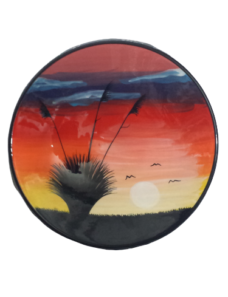 Splashy NZ Hand-Painted Ceramic Bowl (Field Sunset)