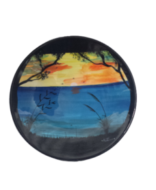 Splashy NZ Hand-Painted Ceramic Bowl (Ocean Sunset)