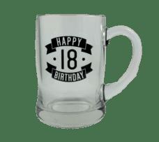 Happy 18 Birthday Glass Beer Mug (450ml)