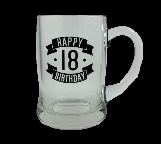 Happy 18 Birthday Glass Beer Mug 450ml Giftware Engravers