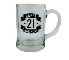 Happy 21 Birthday Glass Beer Mug (450ml)