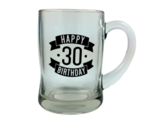 Happy 30 Birthday Glass Beer Mug (450ml)