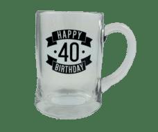 Happy 40 Birthday Glass Beer Mug (450ml)