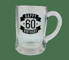 Happy 60 Birthday Glass Beer Mug (450ml)
