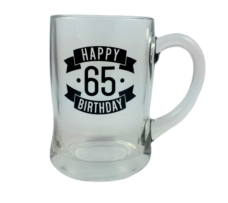 Happy 65 Birthday Glass Beer Mug (450ml)