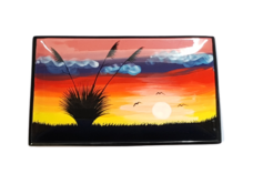 Splashy NZ Hand-Painted Ceramic Platter (Field Sunset)