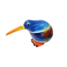 Splashy NZ Hand-Painted Ceramic Kiwi (Beach & Jandals)
