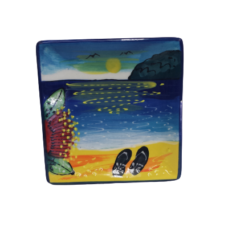 Splashy NZ Hand-Painted Ceramic Butter-dish (Beach & Jandals)