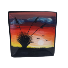 Splashy NZ Hand-Painted Ceramic Butter-dish (Field Sunset)