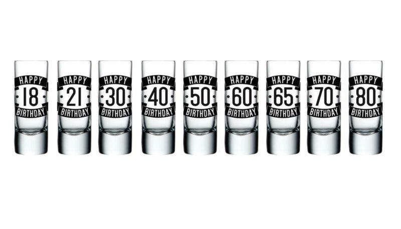 Birthday Shot Glasses Range