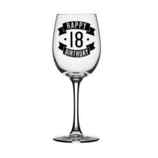 Happy 18 Birthday Wine Glass (350ml)
