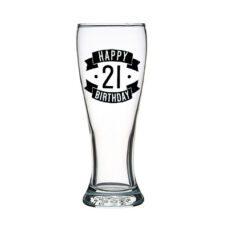 Happy 21 Birthday Tall Glass (425ml)
