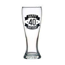 Happy 40 Birthday Tall Glass (425ml)