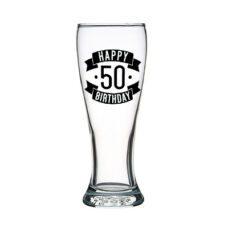 Happy 50 Birthday Tall Glass (425ml)