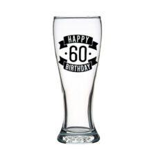 Happy 60 Birthday Tall Glass (425ml)