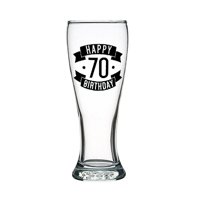 Happy 70 Birthday Tall Glass (425ml)