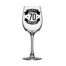 Happy 70 Birthday Wine Glass (350ml)