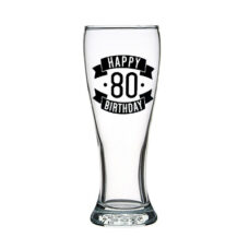 Happy 80 Birthday Tall Glass (425ml)