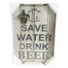 Save Water Drink Beer Wall Plaque with Bottle Opener