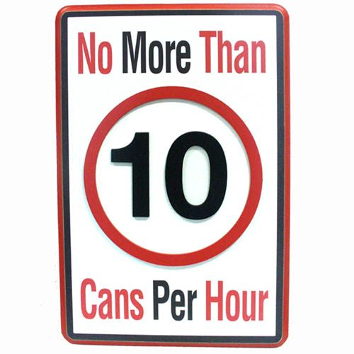 Man Cave Road Sign: No More Than 10 Cans Per Hour