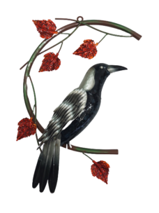Magpie on Branch with Red Leaves (Wall Hanging)