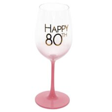 Happy 80th Coral Pink Wine Glass