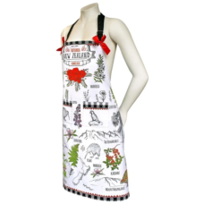 Apron NZ Flowers Of NZ Design (Comes with FREE Matching Tea Towel)