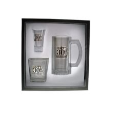 Badged Glass Gift Set (Happy 30th Birthday)