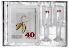 40th Anniversary Photo Frame & Champagne Glasses (Gift Set)