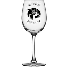 Art Deco Wine Glass: Lady with Feather (350ml)