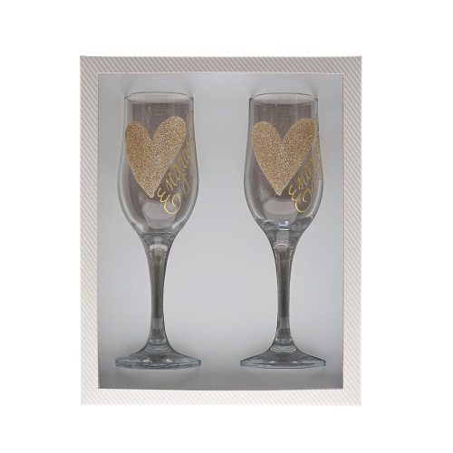"""Gold Heart """"Engaged"""" Champagne Flutes (Gift Set)"""