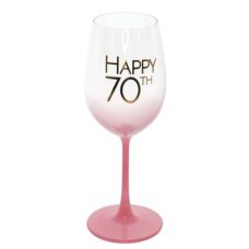 Happy 70th Coral Pink Wine Glass