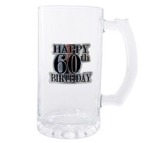 Badged Beer Glass (Happy 60th Birthday)