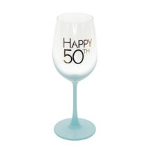 Happy 50th Teal Wine Glass