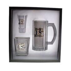 Badged Glass Gift Set (Happy 18th Birthday)