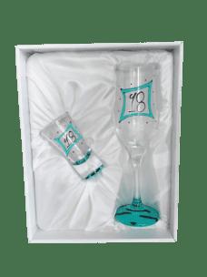 Champagne Glass & Shot Glass Set: 18 (Teal Zebra)