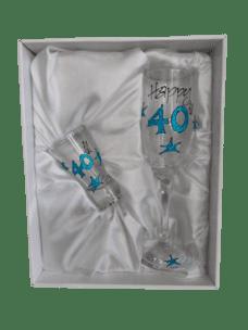 Champagne Glass & Shot Glass Set: 40 (Blue Glitter)