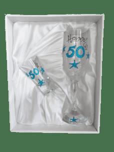 Champagne Glass & Shot Glass Set: 50 (Blue Glitter)