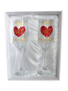 Champagne Glass Set (Happy 40th Anniversary)