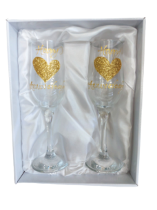 Champagne Glass Set (Happy Anniversary Gold Hearts)