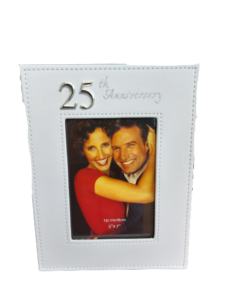 25th Anniversary Photo Frame (White Leather)