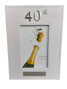 40th Photo Frame (White Leather)