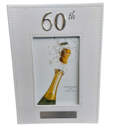 60th Photo Frame (White Leather)