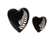 Ceramic Black Heart with Fern