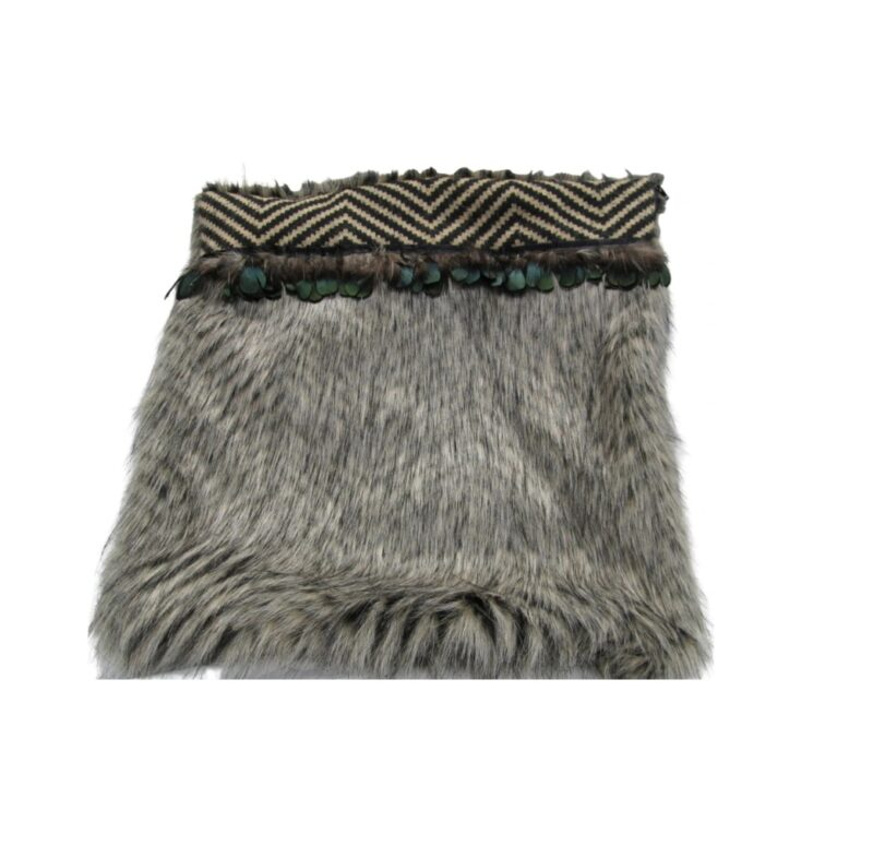 Cushion Cover with Feathers (Grey)