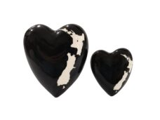 Ceramic Black Heart with NZ Map