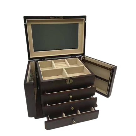 Large Wooden Jewel Box with Side Sections (Walnut Finish)