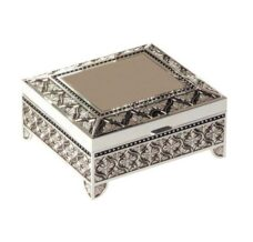 Square Jewel Box with Flowers - Large (Silver Plated)
