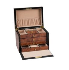 Deluxe Wooden Jewel Box with Pull Down Front - (Walnut Finish)